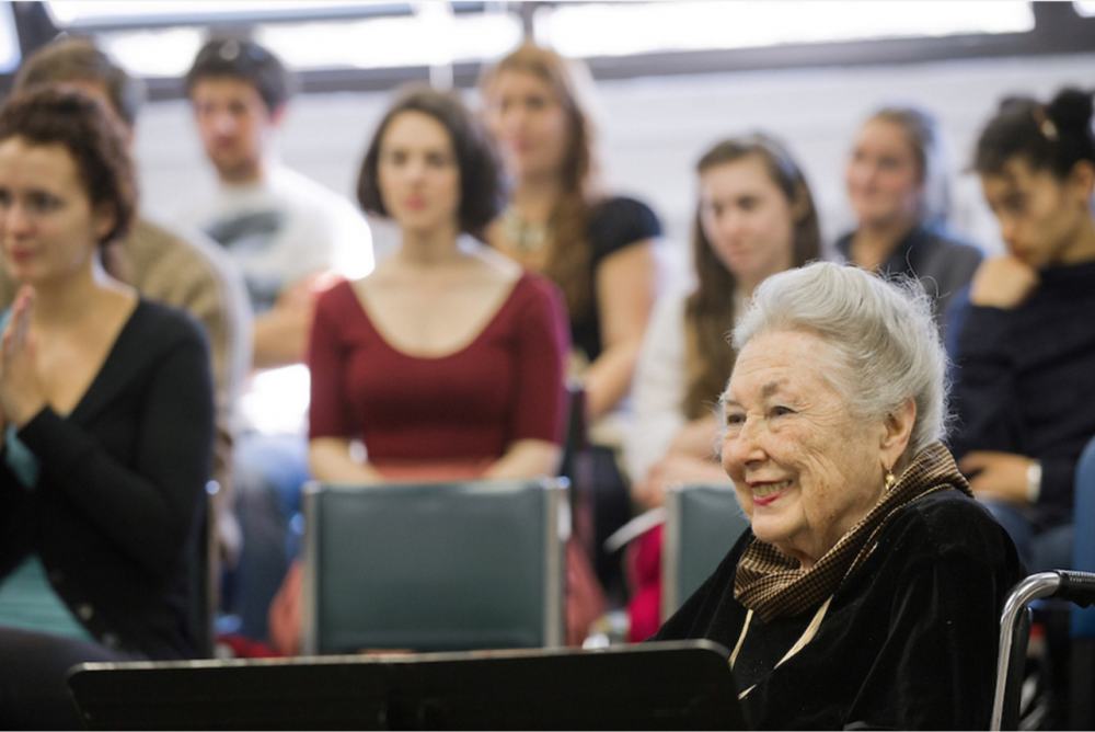Phyllis Curtin giving a master class at Boston University's Opera Institute in 2011. (Courtesy Kalman Zabarsky/Boston University)