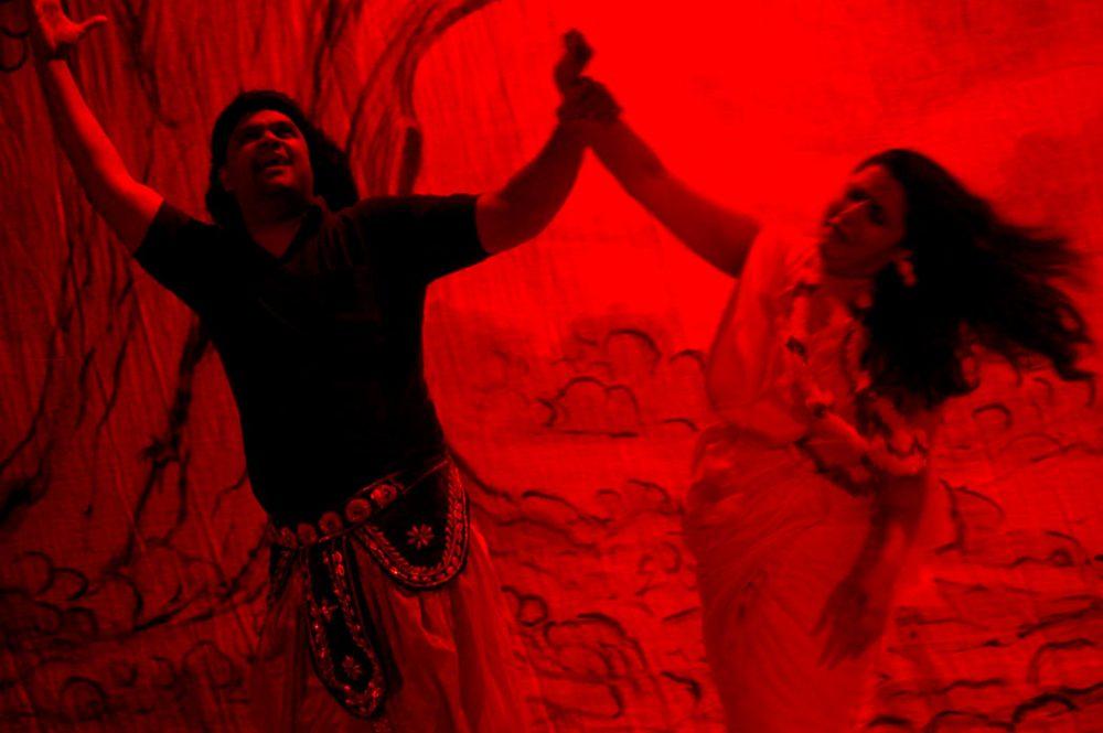 "In SETU's adaptation of ""Ramayan,"" Ravana kidnaps Sita. (Greg Cook/WBUR)"