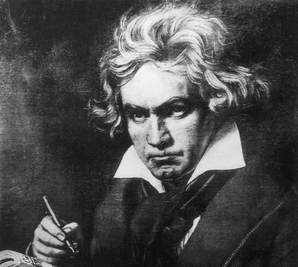 German composer Ludwig Van Beethoven, depicted in an original painting by Steiler. (Rischgitz/Getty Images)