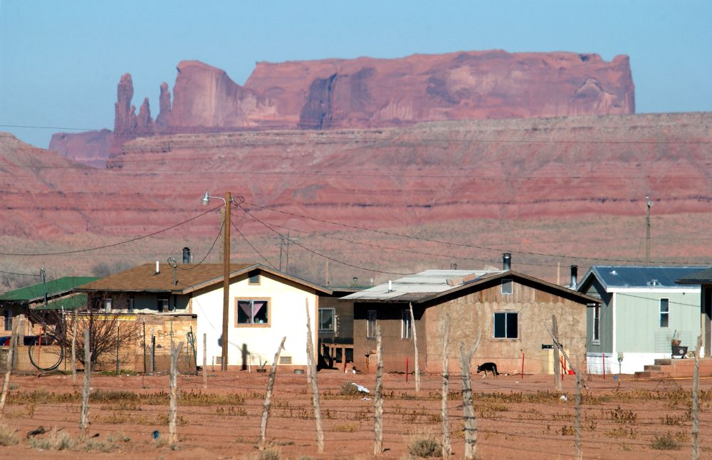 Houses on the Navajo Indian Reservation in Arizona in 2002. (David McNew/Getty Images)