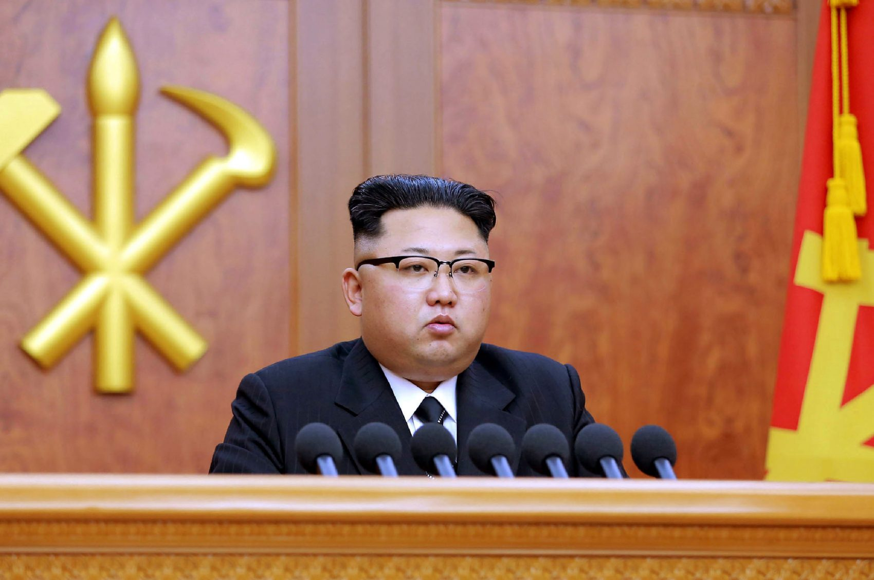 This picture released by North Korean news agency Korean Central News Agency (KCNA) on Jan. 1, 2017 shows North Korean leader Kim Jong-Un delivering the new year message in Pyongyang. (Stringer/AFP/Getty Images)