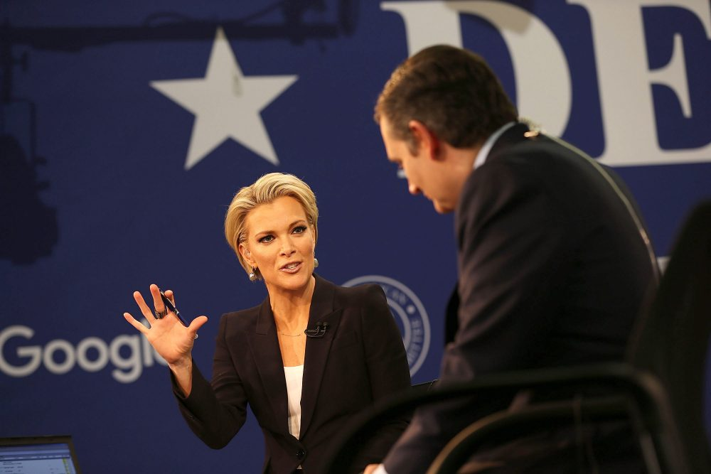 Former Fox News anchor Megyn Kelly speaks with Republican Presidential candidate Sen. Ted Cruz (R-TX) after the Republican Presidential debate sponsored by Fox News and Google at the Iowa Events Center on Jan. 28, 2016 in Des Moines, Iowa. (Joe Raedle/Getty Images)