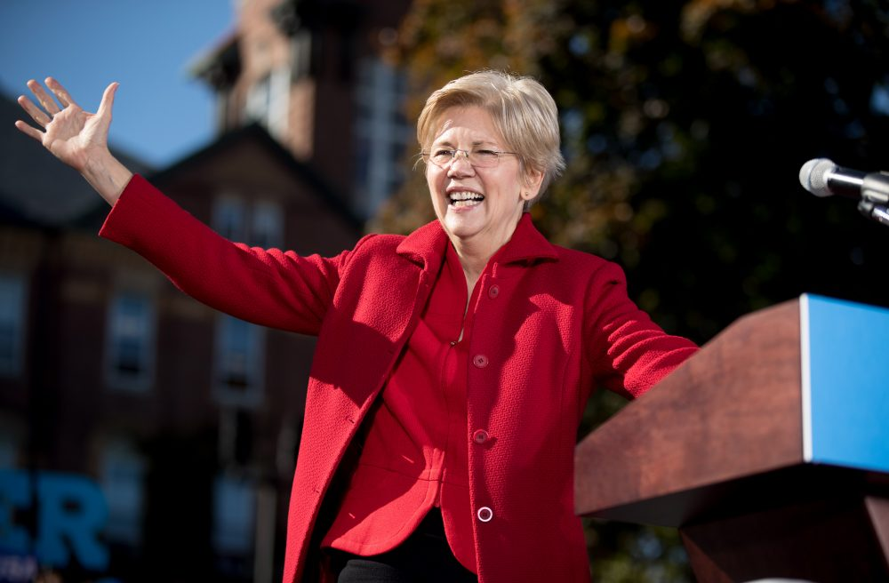 Sen. Elizabeth Warren, D-Mass., at a rally for Hillary Clinton at St. Anselm College in Manchester, N.H. in October of last year. (Andrew Harnik/AP)