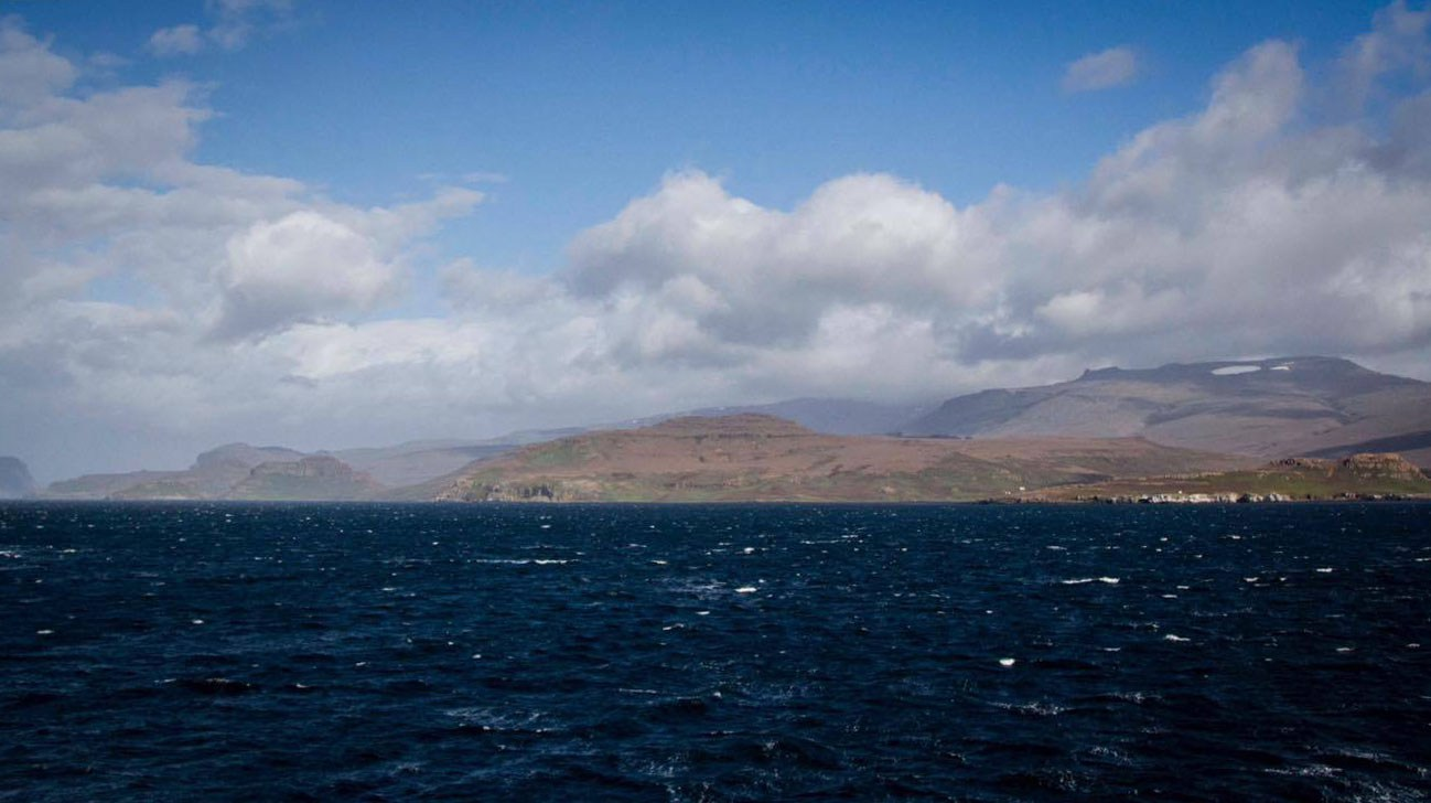 The view from the ship of La Grande Terre on Kerguelen Island. (Courtesy Parafilms/EPFL)