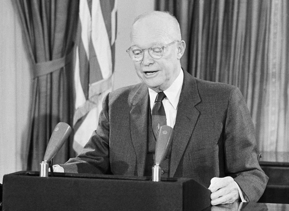 President Dwight D. Eisenhower is shown during his farewell television address to the nation made from the White House in Washington, Jan. 18, 1961. (Bill Allen/AP)