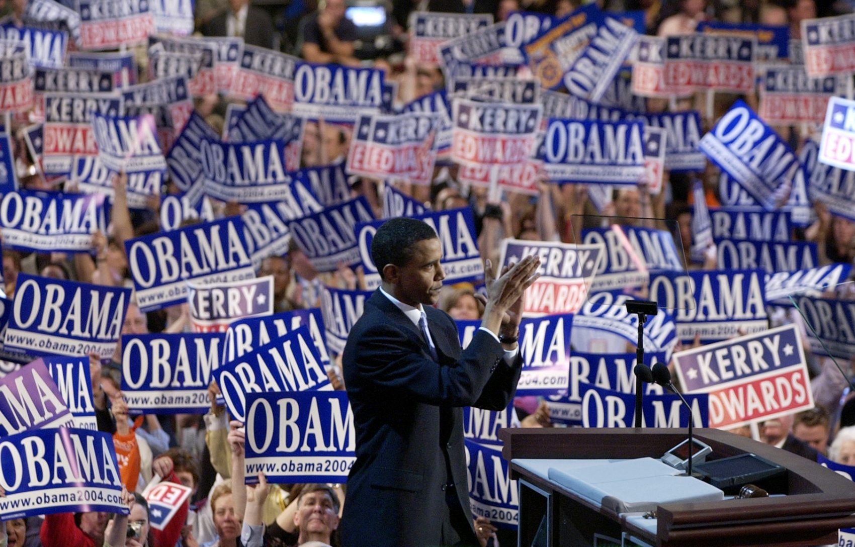 Barack Obama, then-candidate for the Senate from Illinois, speaks to delegates during the Democratic National Convention at the FleetCenter in Boston on July 27, 2004. (Charlie Neibergall/AP)