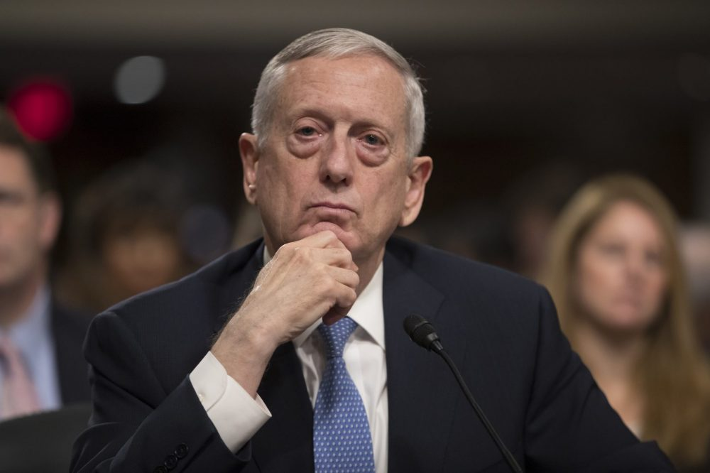 Defense Secretary-designate James Mattis listens to questions at his confirmation hearing before the Senate Armed Services Committee on Capitol Hill. (J. Scott Applewhite/AP)
