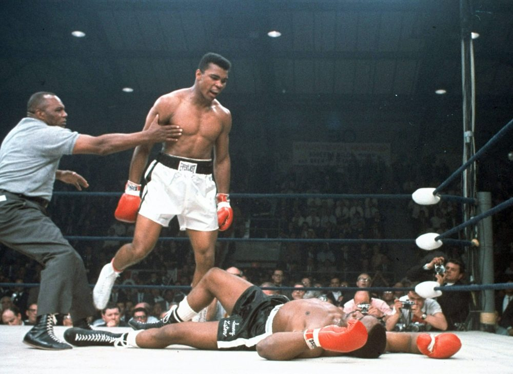 Muhammad Ali knocked out Sonny Liston in the first round of their 1965 title fight. Eyebrows were raised -- and the FBI investigated whether the match was fixed. (AP)