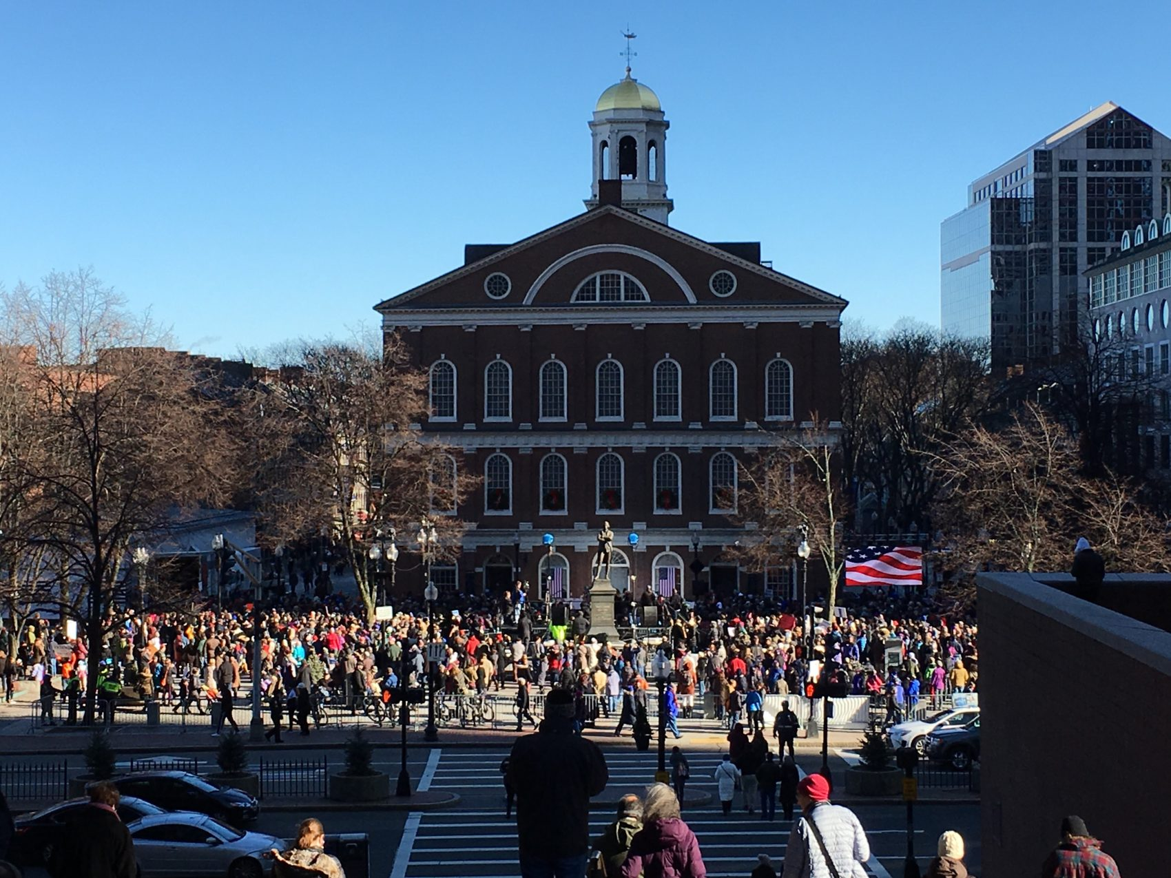 On Sunday, almost the entire Massachusetts congressional delegation participated in a rally at Faneuil Hall in support of the Affordable Care Act. Similar rallies in support of President Obama's signature healthcare law also occured throughout the country Sunday. (Qainat Khan/WBUR)