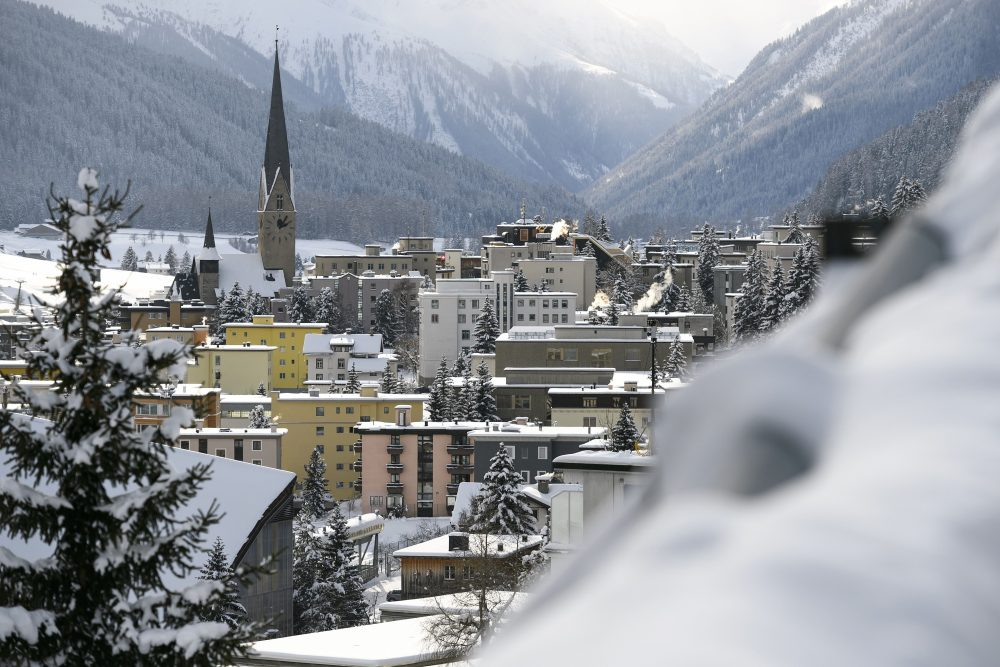 The ski resort of Davos is seen on the eve of the opening day of the World Economic Forum, on Jan. 16, 2017 in Davos, Switzerland. (Fabrice Coffrini/AFP/Getty Images)