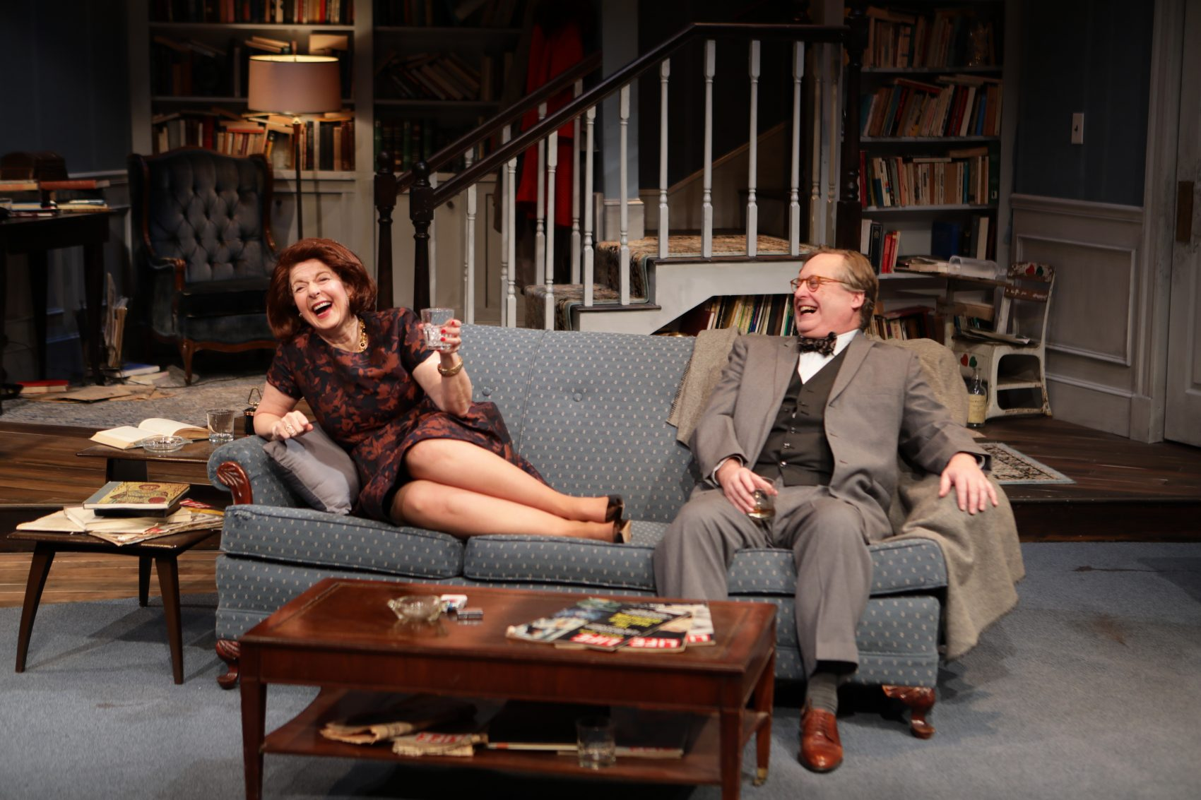 """Paula Plum and Steven Barkhimer as Martha and George in """"Who's Afraid of Virginia Woolf?"""" (Courtesy Mark S. Howard/Lyric Stage)"""