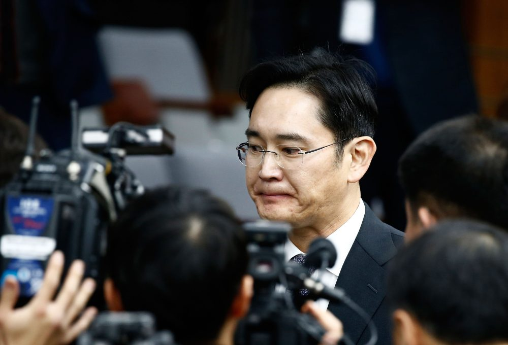 Lee Jae-Yong, vice chairman of Samsung, leaves to adjourn for lunch during a parliamentary hearing over the Choi Soon-sil gate probe at the National Assembly on Dec. 6, 2016 in Seoul, South Korea. (Jeon Heon-Kyun-Pool/Getty Images)