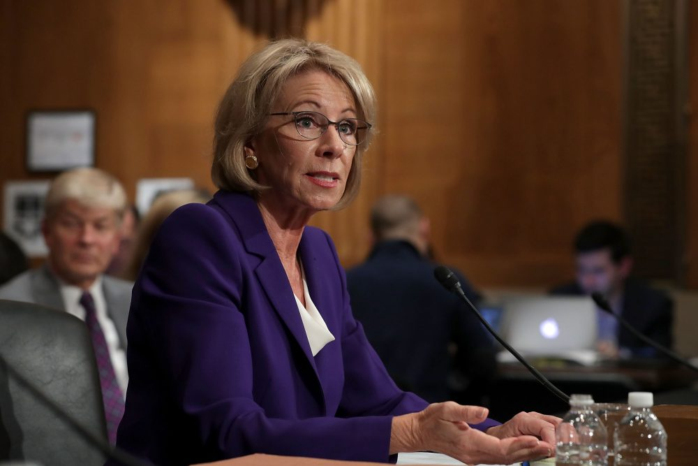 Betsy DeVos, President-elect Donald Trump's pick to be the next secretary of education, testifies during her confirmation hearing before the Senate Health, Education, Labor and Pensions Committee on Capitol Hill on Jan. 17, 2017 in Washington, D.C. (Chip Somodevilla/Getty Images)