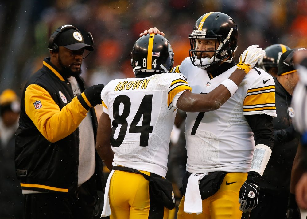 After his team defeated the Chiefs in the divisional round, Steelers receiver Antonio Brown streamed Coach Mike Tomlin's locker room speech on Facebook. (Gregory Shamus/Getty Images)
