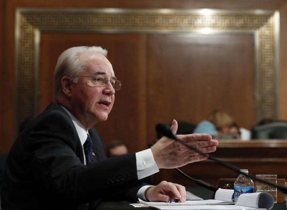 Health and Human Services Secretary-designate, Rep. Tom Price, R-Ga., an Obamacare critic, testifies on Capitol Hill in Washington, Wednesday, Jan. 18, 2017. (Carolyn Kaster/AP)