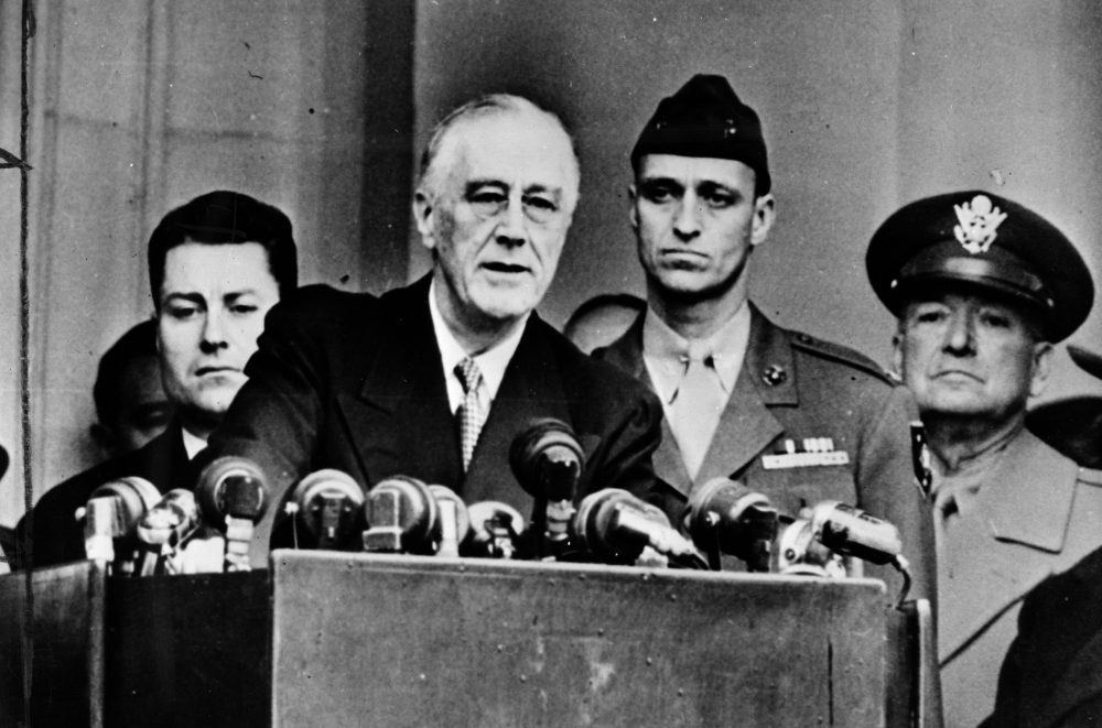 President Franklin Delano Roosevelt speaks during his fourth inauguration ceremony at the White House on Jan. 20, 1945. (Fox Photos/Getty Images)