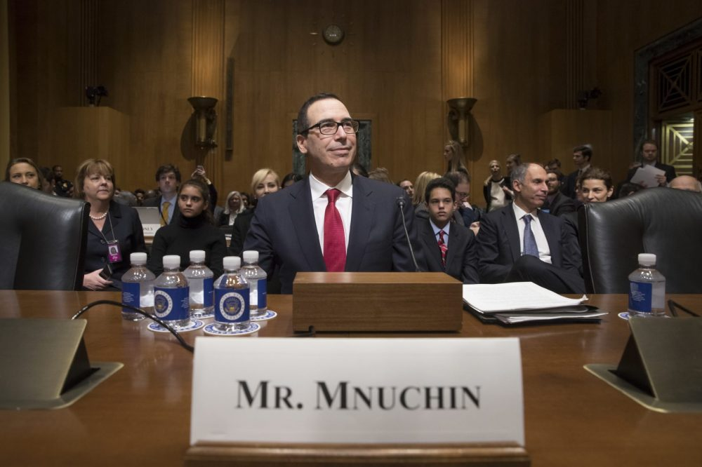 Treasury Secretary-designate Stephen Mnuchin arrives on Capitol Hill in Washington, Thursday to testify at his confirmation hearing before the Senate Finance Committee. (J. Scott Applewhite/AP)