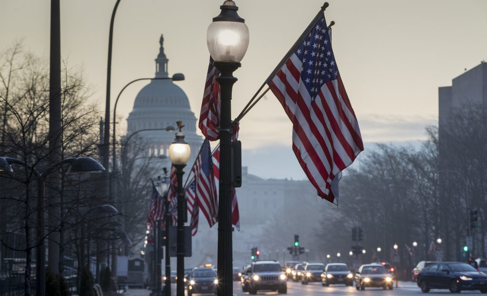 The Capitol in Washington, is seen at dawn on Wednesday as the city prepares for Friday's inauguration of Donald Trump as president.  (J. Scott Applewhite/AP)
