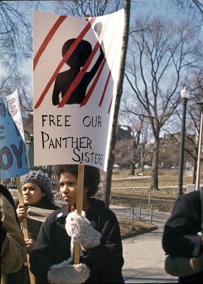 A demonstrator at the International Women's Day march in Boston on March 8, 1970. (Courtesy Liane Brandon)