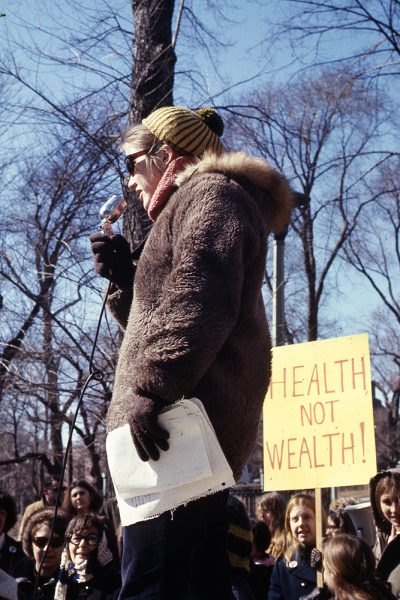 A demonstrator addresses the crowd at the 1970 International Women's Day march on the Boston Common. (Courtesy Liane Brandon)