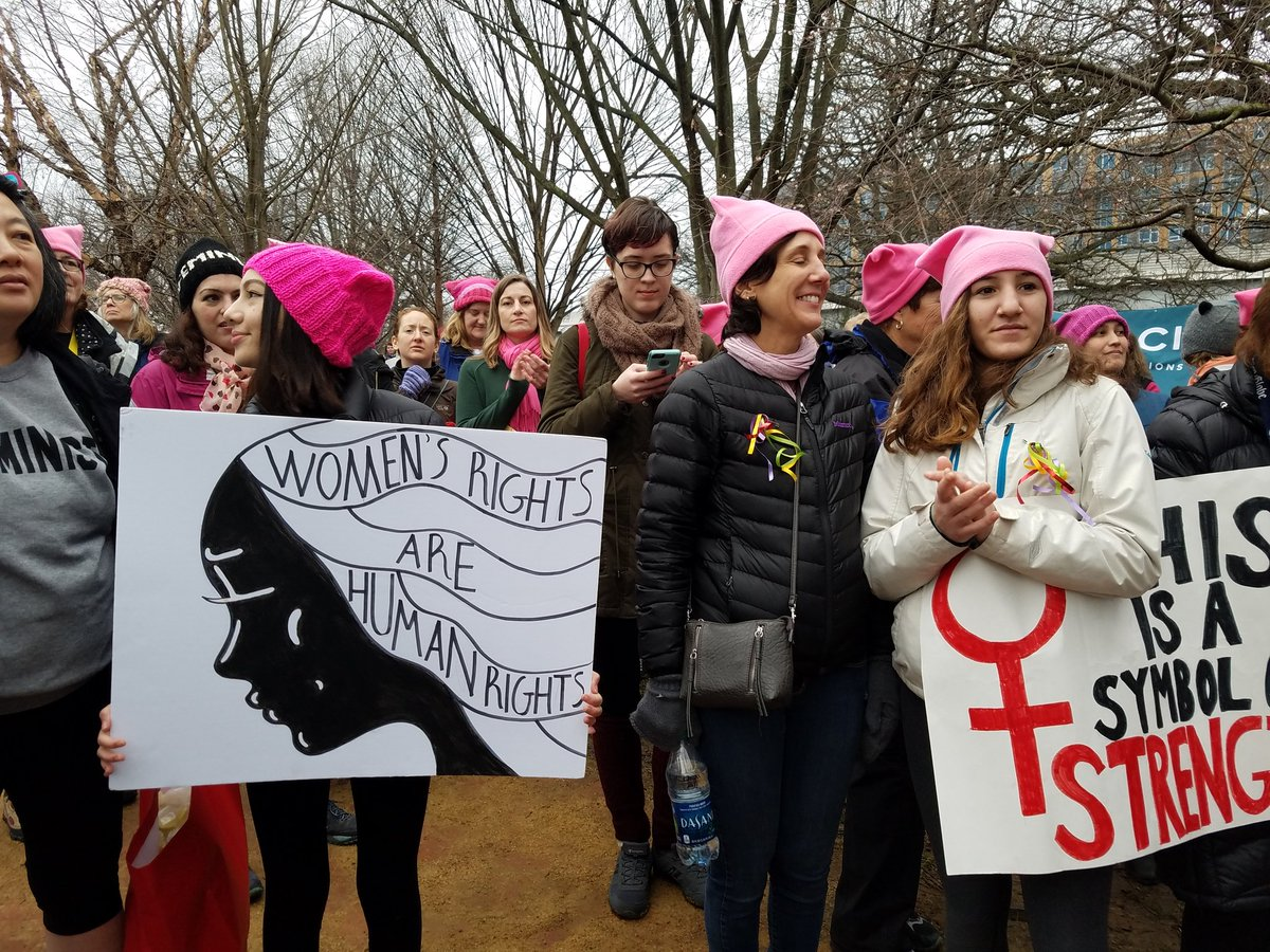People from Massachusetts gathered in Garfield Park in Washington, D.C. ahead of the Women's March on Washington. (Zeninjor Enwemeka/WBUR)