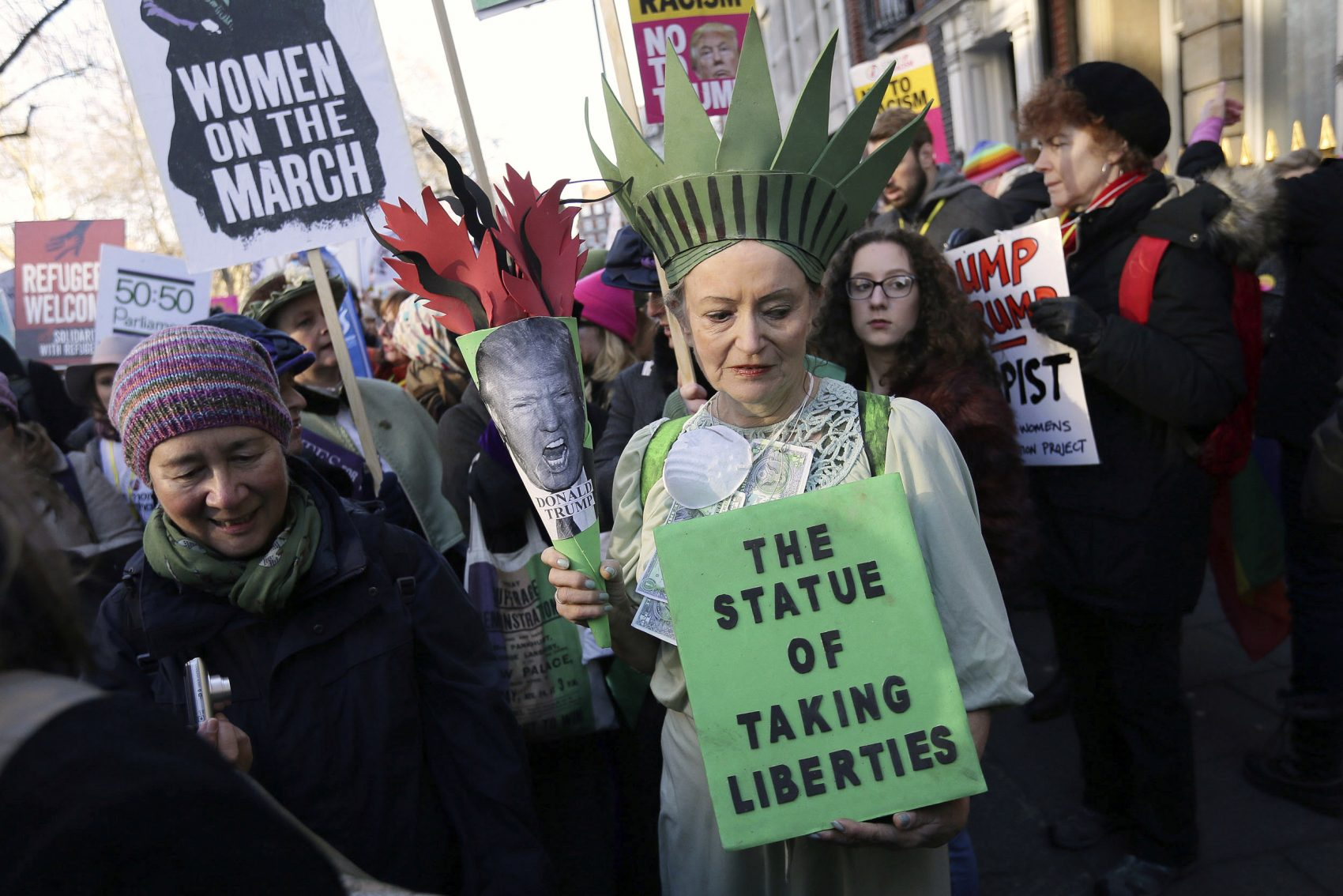 Demonstrators took part in the Women's March on London Saturday. (Tim Ireland/AP)