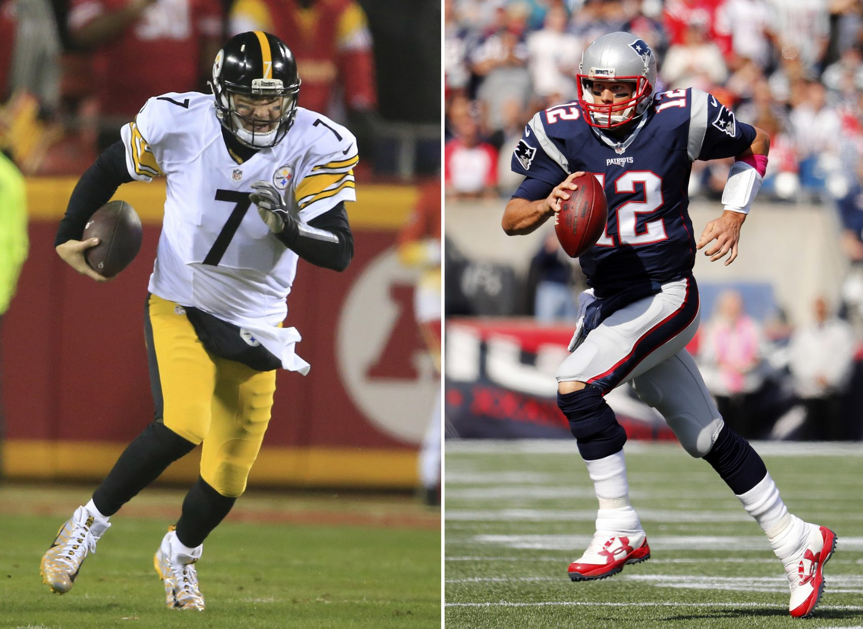 At left, in a Jan. 15, 2017 file photo, Pittsburgh Steelers quarterback Ben Roethlisberger plays against the Kansas City Chiefs. At right, in an Oct. 16, 2016 file photo, New England Patriots quarterback Tom Brady runs against the Cincinnati Bengals (Winslow Townson/AP File)