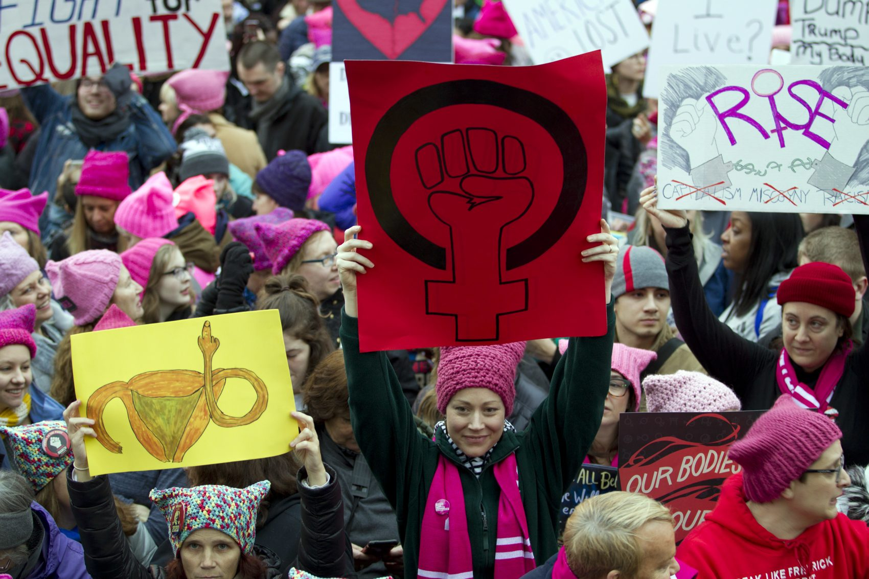 Protesters gathered in Washington, D.C. Saturday morning for the Women's March on Washington. (Jose Luis Magana/AP)