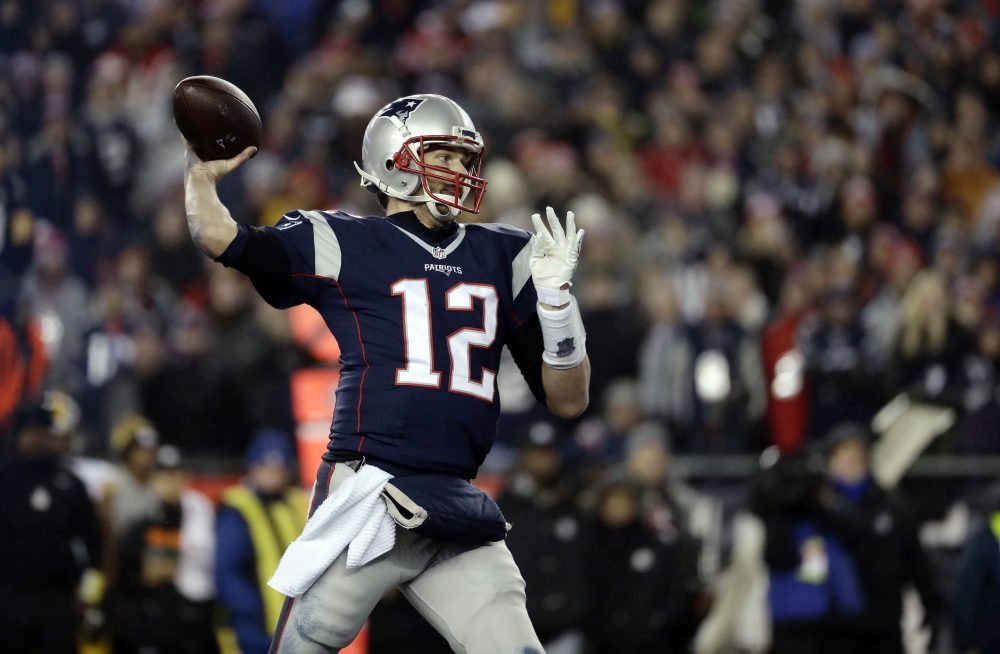 Patriots quarterback Tom Brady throws a touchdown pass to wide receiver Julian Edelman during the second half of the AFC championship game against the Steelers Sunday. (Matt Slocum/AP)