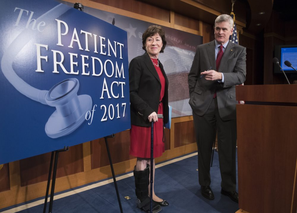 Sen. Susan Collins (R-Maine), left, and Sen. Bill Cassidy (R-La.) participate in a news conference on Capitol Hill in Washington, Monday, Jan. 23, 2017, to announce the Patient Freedom Act of 2017, a possible GOP replacement bill for the Affordable Care Act.  (J. Scott Applewhite/AP)