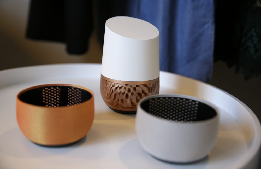 A Google Home unit is on display following a product event in October 2016 in San Francisco. (Eric Risberg/AP)