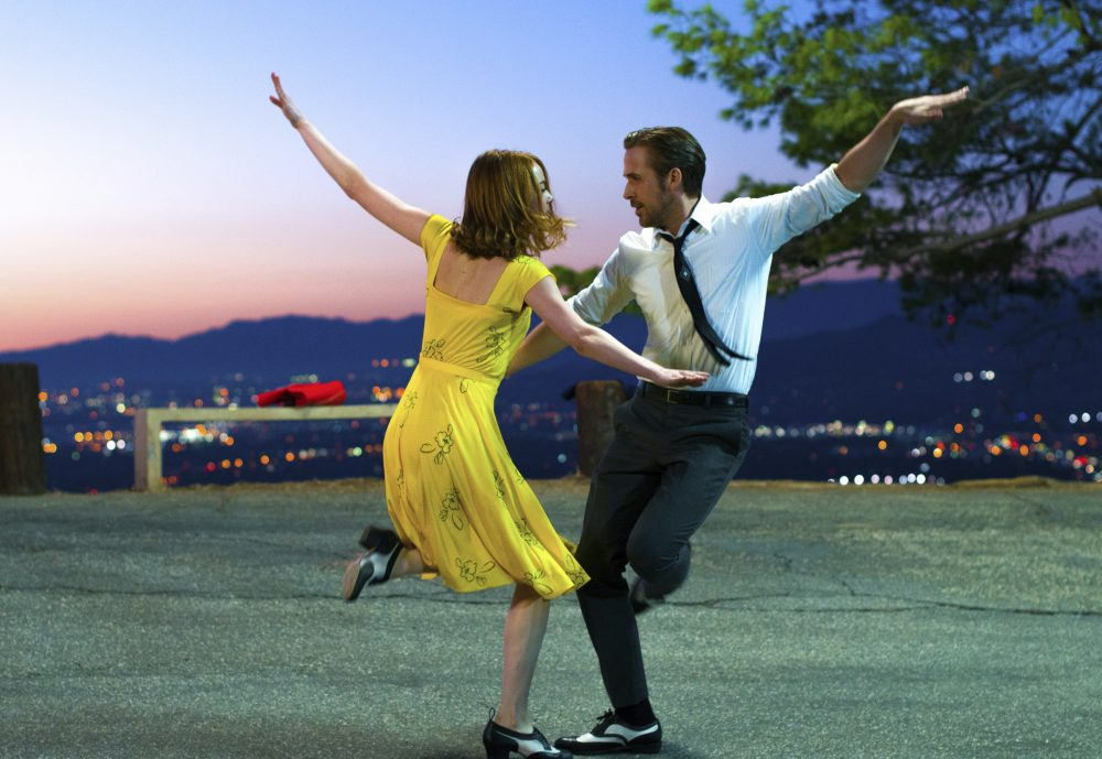 "This image released by Lionsgate shows Ryan Gosling, right, and Emma Stone in a scene from, ""La La Land."" The film was nominated for an Oscar for best picture. (Dale Robinette/Lionsgate via AP)"