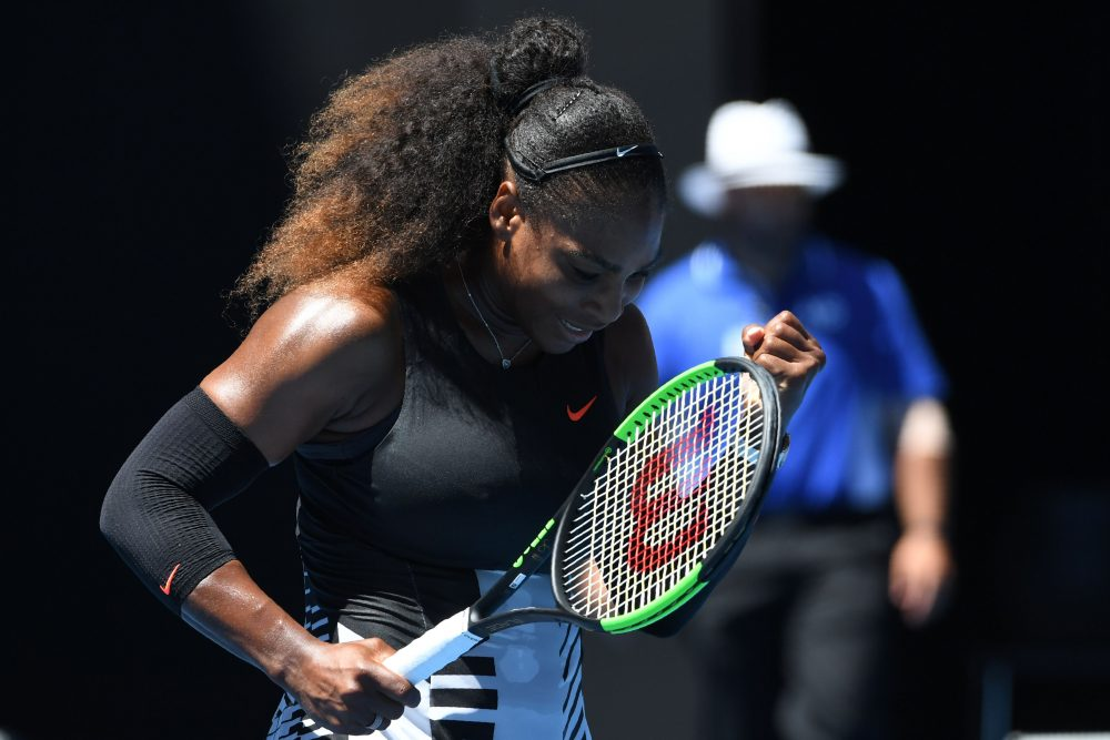 Serena Williams celebrates her victory against Johanna Konta in their women's singles quarterfinal match on Day 10 of the Australian Open in Melbourne on Jan. 25, 2017. (Saeed Khan/AFP/Getty Images)
