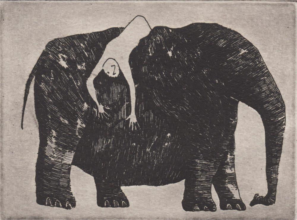 """Edward Gorey, """"Elephant with Prostrate Passenger."""" (©Edward Gorey Charitable Trust)"""