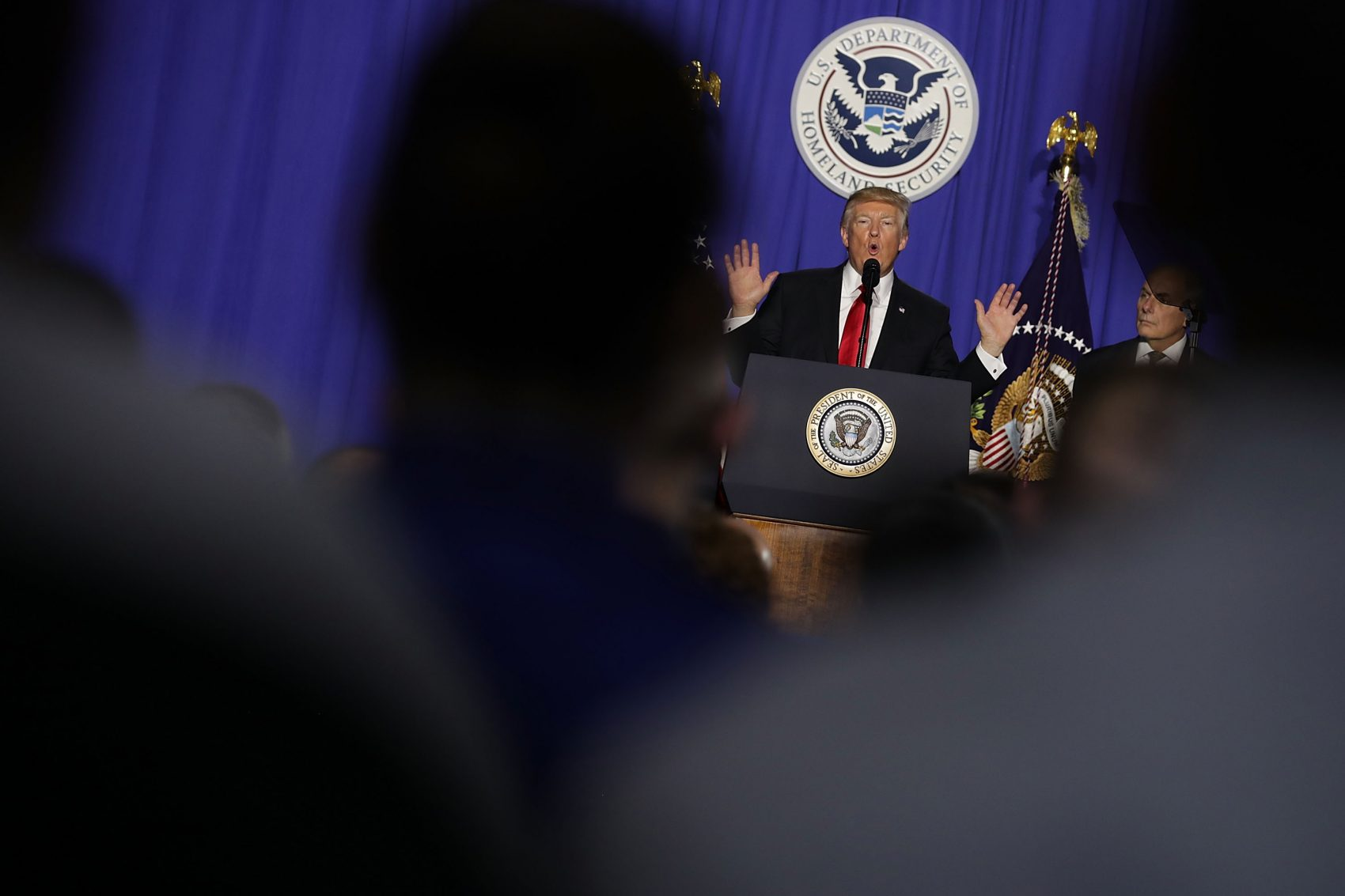 President Donald Trump delivers remarks during a visit to the Department of Homeland Security on Jan. 25, 2017 in Washington. (Chip Somodevilla/Getty Images)