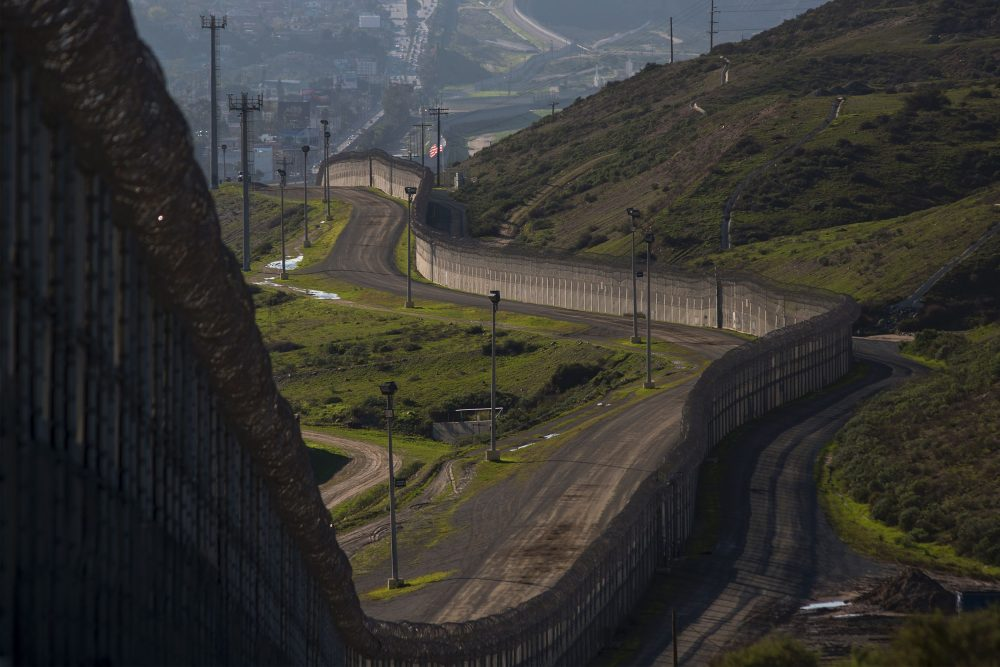 Multiple layers of steel walls, fences, razor wire and other barricades are viewed from the United States side of the of the U.S.-Mexico border on Jan. 26, 2017 in San Ysidro, Calif. (David McNew/AFP/Getty Images)