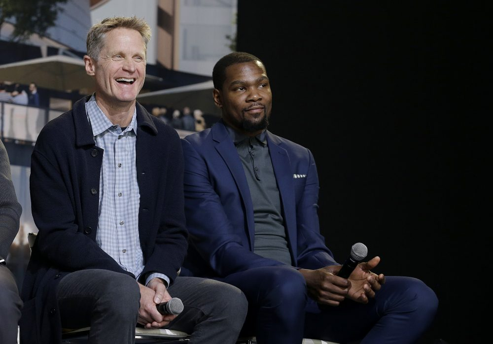 Warriors head coach Steve Kerr, left, and forward Kevin Durant during the Chase Center ground breaking ceremony. (Jeff Chiu/AP)