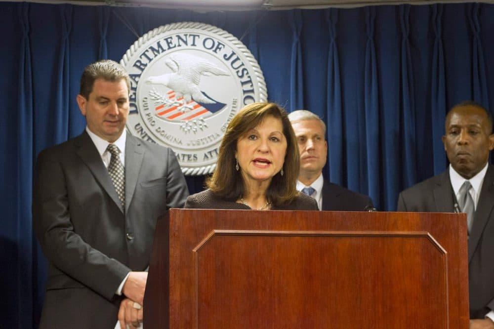 US Attorney Carmen Ortiz at a 2016 press conference. (Joe Difazio for WBUR)