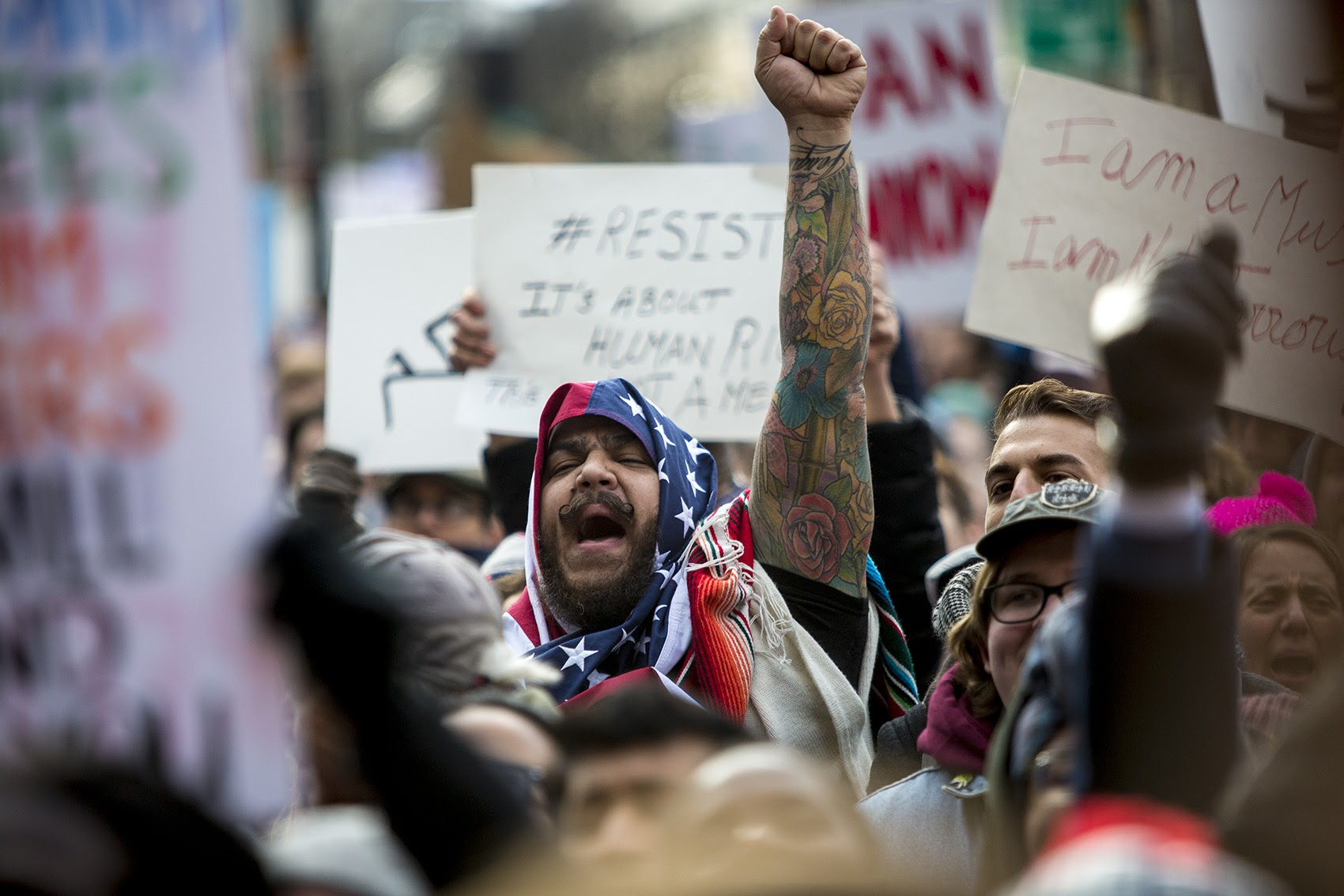 A man cheered during the rally in Copley Square. (Jesse Costa/WBUR)