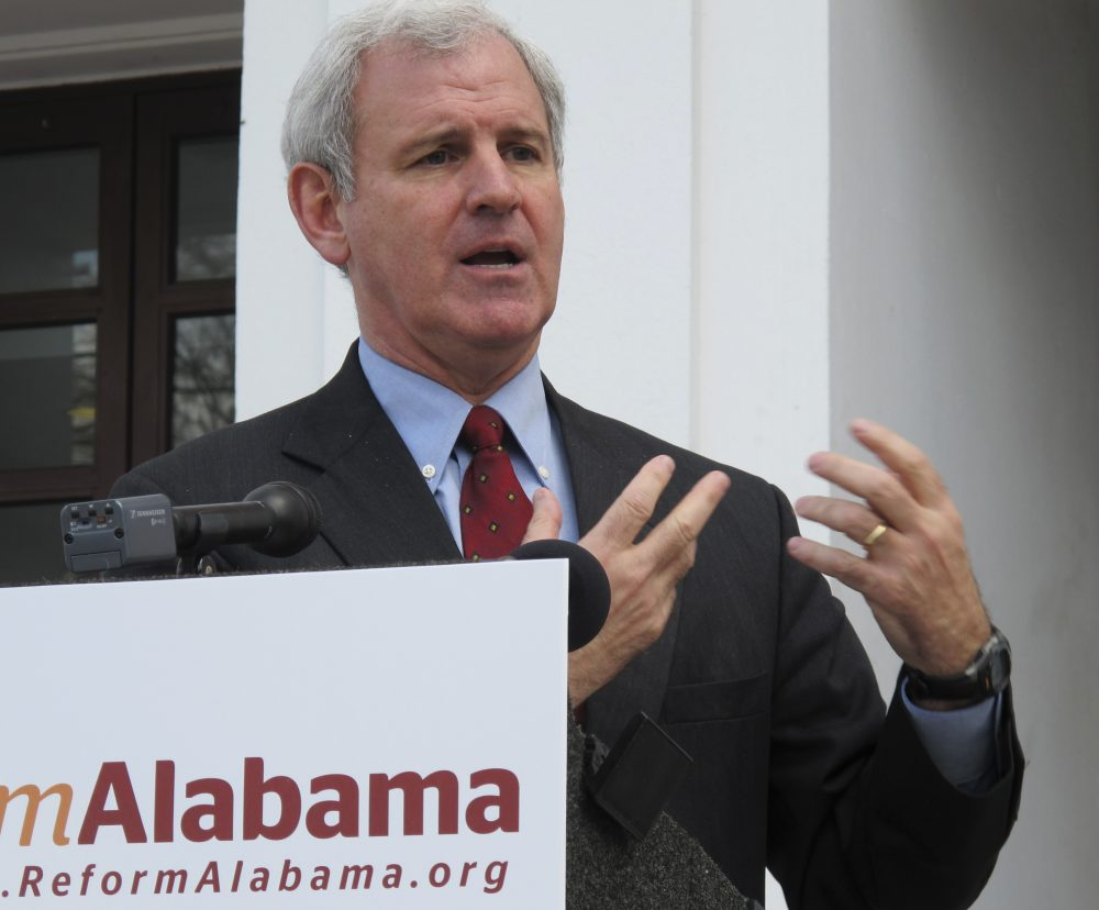 Rep. Bradley Byrne (R-Ala.) speaks at a news conference Thursday, Feb. 24, 2011, on the Statehouse steps in Montgomery, Ala. (Phillip Rawls/AP)