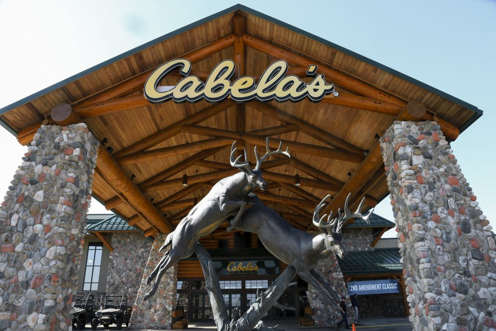 In this Feb. 17, 2016 file photo, statues of wildlife adorn the entrance to a Cabela's store in LaVista, Neb. (Nati Harnik/AP)