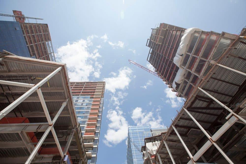 One Seaport Square under construction. (Joe Difazio for WBUR)