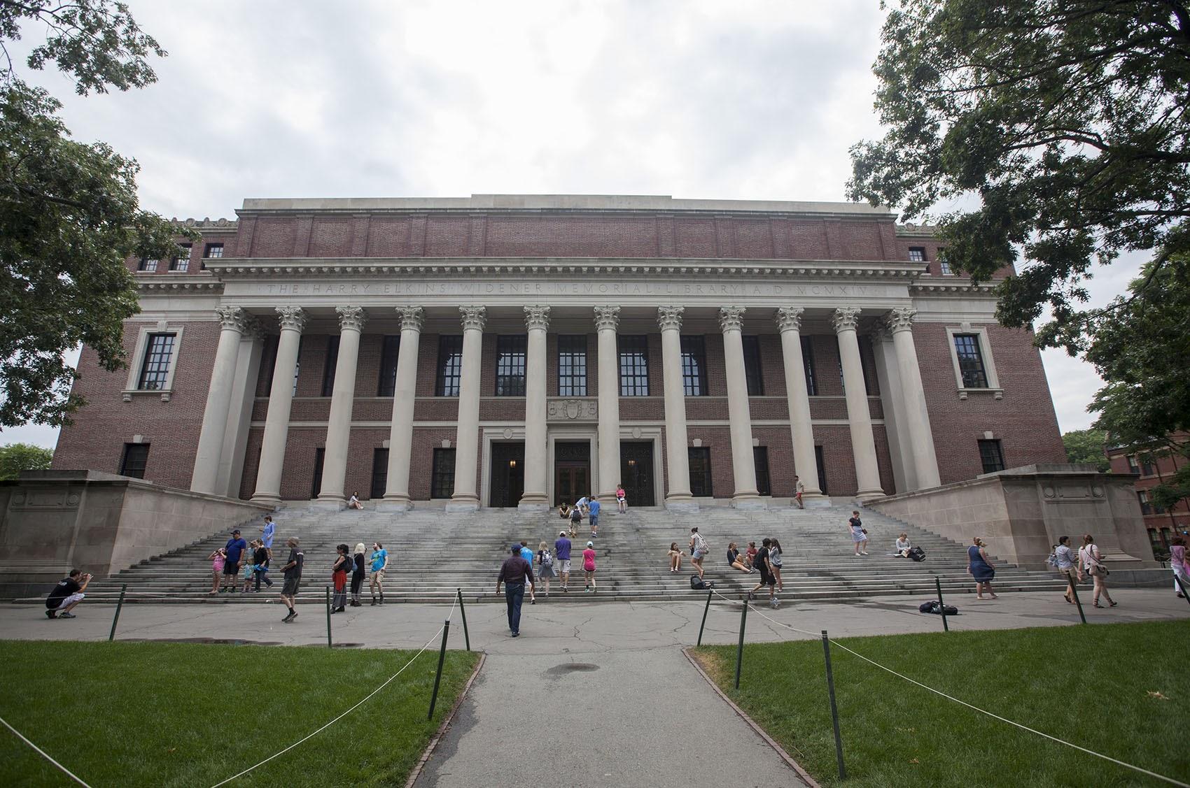Widener Library in Harvard Yard. (Joe Difazio for WBUR)