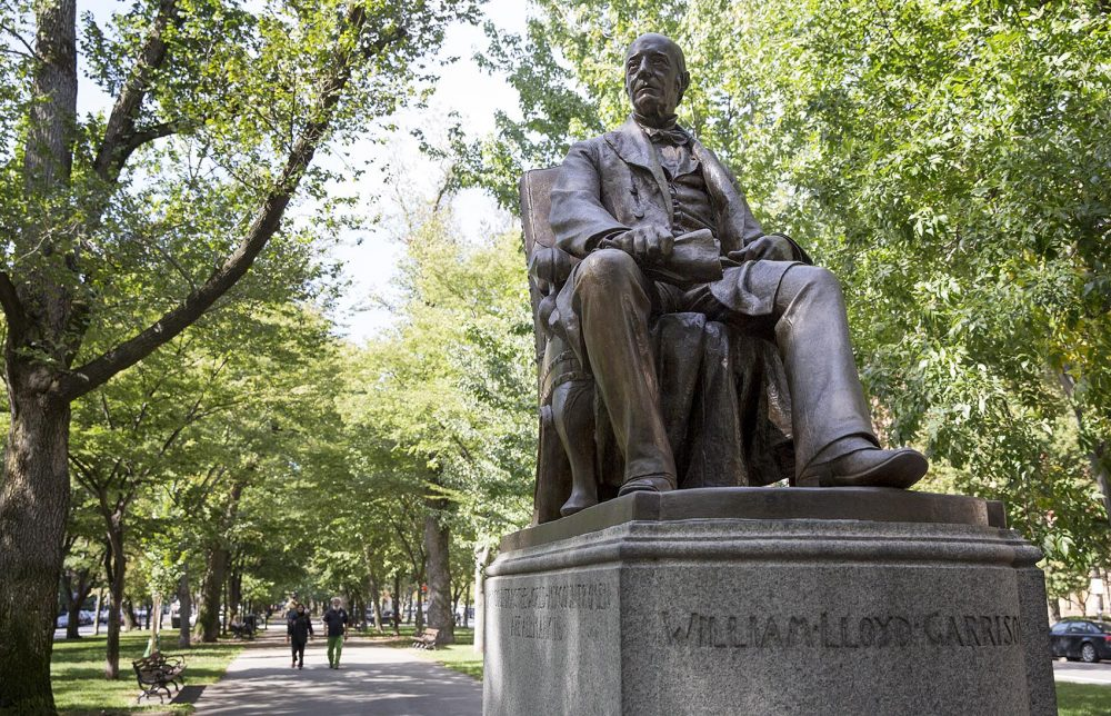 This statue of William Lloyd Garrison is located on Commonwealth Avenue, between Dartmouth St. and Exeter St., in Boston.  (Robin Lubbock/WBUR)