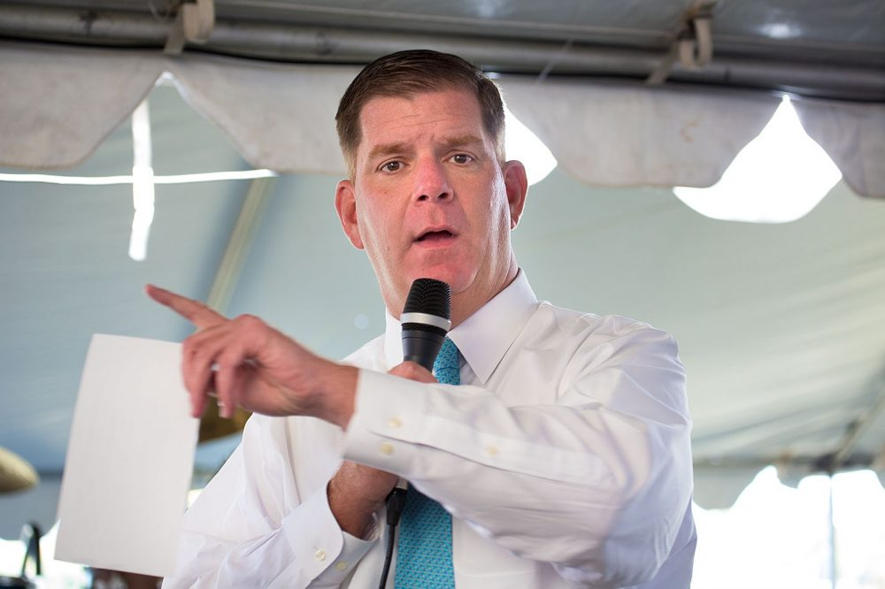 Racial animus and economic inequity, writes Kevin C. Peterson, influence housing patterns and media coverage. Pictured: Boston Mayor Marty Walsh, in 2015. (Jesse Costa/WBUR)