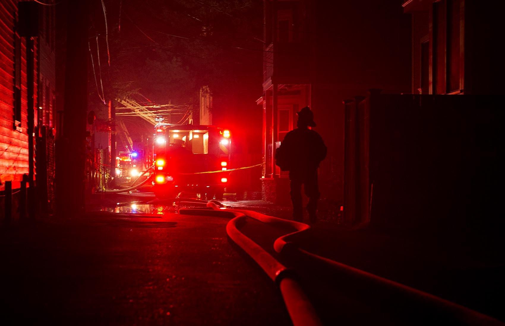 Fire trucks on York Place in Cambridge (Robin Lubbock/WBUR)