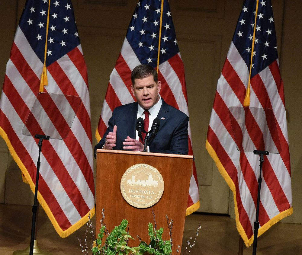 Mayor Marty Walsh delivers his State of the City address at Boston Symphony Hall on Tuesday night. (Courtesy of Isabel Leon/Mayor's Office)