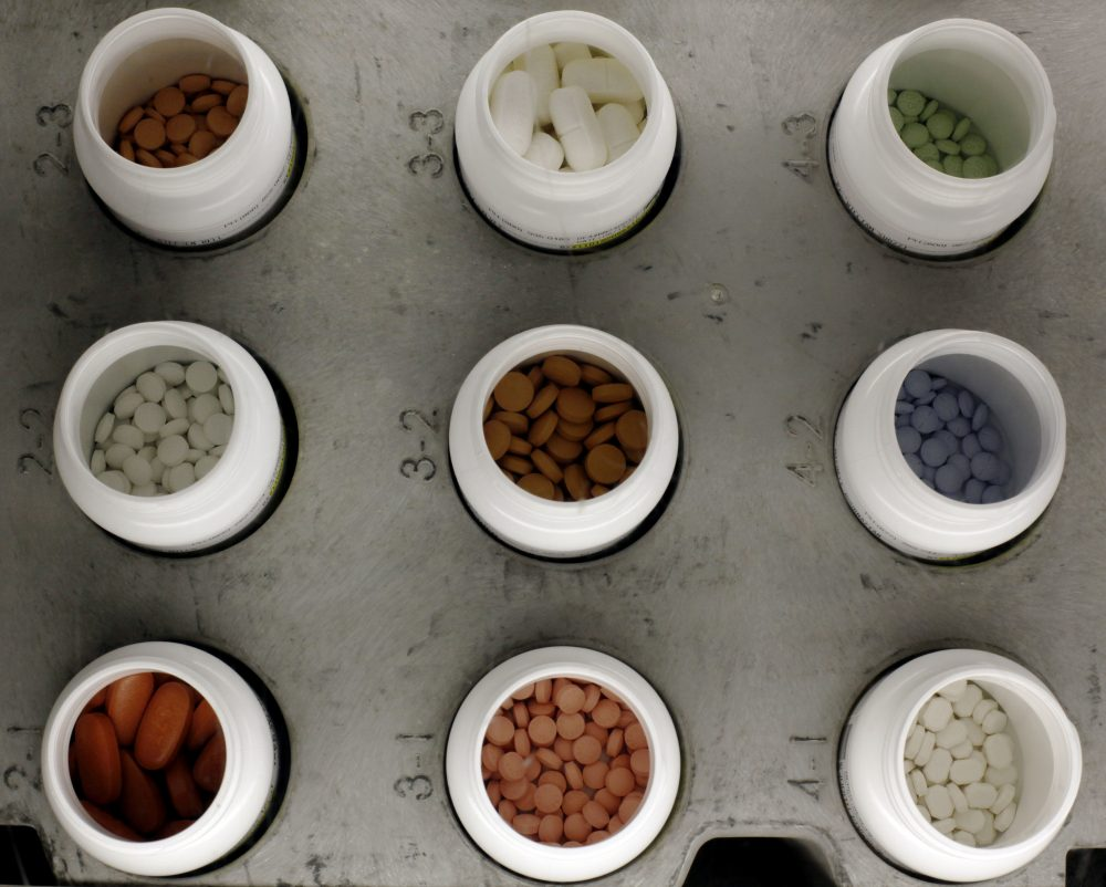 Various prescription drugs on the automated pharmacy assembly line at Medco Health Solutions in Willingboro, N.J. in 2011. (Matt Rourke/AP)