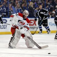 Carolina Hurricanes equipment manager Jorge Alves served as his team's backup goalie for one night. (Mike Carlson/AP)