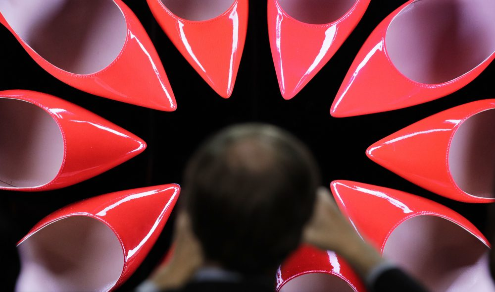 A journalist takes a picture of the Samsung QLED TV with Quantum dot Technology during a Samsung news conference before CES International, Wednesday, Jan. 4, 2017, in Las Vegas. (AP Photo/John Locher)